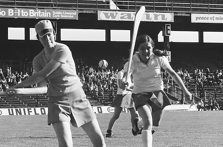 Wexford goalie hitting the slitor out as Cork attempts to block her mid swing during the All Ireland Senior Camogie Final Cork v Wexford in Croke Park on the 21st September 1975.