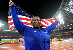 USA's Michelle Carter celebrates winning bronze in the Women's Shot Put during day six of the 2017 IAAF World Championships at the London Stadium.