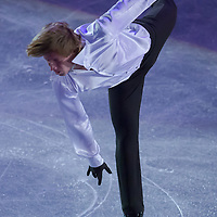 Konstantin Menshov of Russia bronze medalist in the Men's Figure Skating competition performs during the gala exhibition of the ISU European Figure Skating Championships in Budapest, Hungary on January 19, 2014. ATTILA VOLGYI