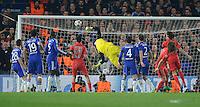 Paris Saint-Germain's Thiago Silva (out of shot) scores his sides second goal to put them through 2-2 on the evening<br /> <br /> Photographer Ashley Western/CameraSport<br /> <br /> Football - UEFA Champions League Round of 16, Second Leg - Chelsea v Paris Saint-Germain - Wednesday 11th March 2015 - Stamford Bridge - London<br /> <br /> © CameraSport - 43 Linden Ave. Countesthorpe. Leicester. England. LE8 5PG - Tel: +44 (0) 116 277 4147 - admin@camerasport.com - www.camerasport.com