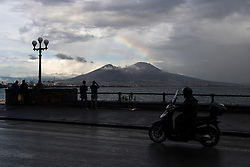 September 11, 2017 - Naples, Italy - The tourists in Golfo of Naples, Via Partenope, View of Rain and Storm to Naples, Italy on 11 September , 2017. Some storms will produce heavy rain and dangerous lightning. (Credit Image: © Paolo Manzo/NurPhoto via ZUMA Press)
