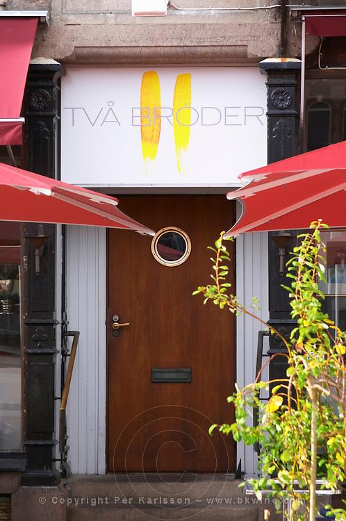 The entrance door. The gastronomic restaurant Tva Bröder, Two Brothers, on Sundstorget. Helsingborg, Skane, Scania. Sweden, Europe.