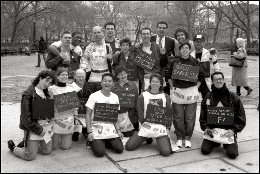 On March 28th, 1989, ACT UP descended on New York City Hall to protest the inadequacy of New York City's AIDS policies under Mayor Ed Koch. <br /> <br /> Bored of Ed affinity group at Target City Hall 1989 Front Row: Tracey Litt, Stacey Mink, John Goodman, Jose Fidelino, Donna Minkowitz, Polly Thistlethwaite, Alexis Danzig, Thomas M. Keane<br /> Back row: Rolf Sjogren, Dan Keith Williams, Mickey Wheatley, John O'Leary, Jamie R Bauer, Kiki Mason, James Revson, Gary Strum, Brent Nicholson Earle