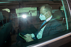 © Licensed to London News Pictures. 01/09/2020. London, UK. Former Australian Prime Minister Tony Abbott wears a mask as he is driven away from 8 Great George Street after speaking at a Policy Exchange event. Photo credit: George Cracknell Wright/LNP