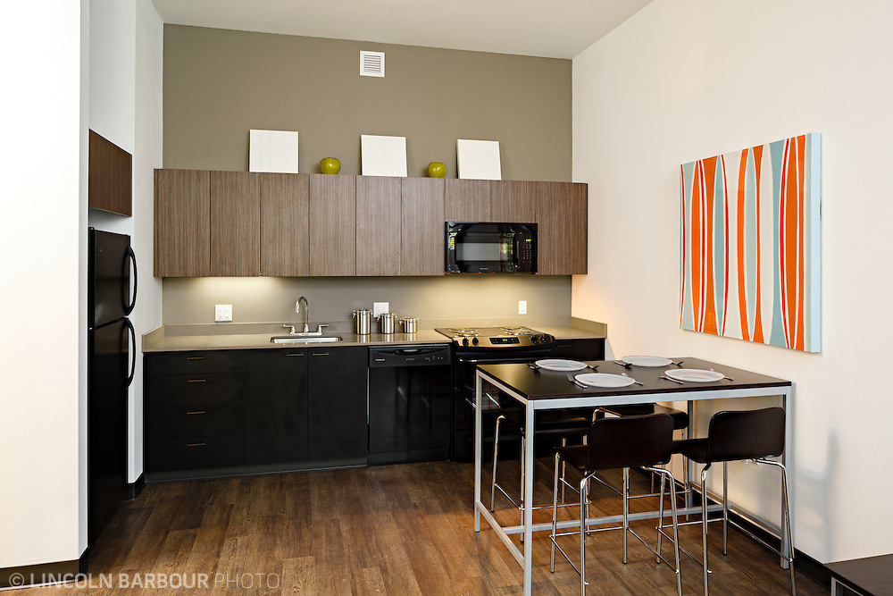 University House student housing apartment in Eugene, OR. Designed by Mahlum Architects. A small well designed kitchen area with a piece of modern art on the wall.