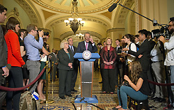 June 27, 2017 - Washington, District of Columbia, United States of America - United States Senate Minority Leader Chuck Schumer (Democrat of New York) speaks to reporters following the Democratic Party luncheon in the United States Capitol in Washington, DC on Tuesday, June 27, 2017.  From left to right: US Senator Patty Murray (Democrat of Washington), US Senate Minority Whip Dick Durbin (Democrat of Illinois), Leader Schumer and US Senator Debbie Stabenow (Democrat of Michigan)..Credit: Ron Sachs / CNP (Credit Image: © Ron Sachs/CNP via ZUMA Wire)