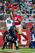 San Francisco 49ers cornerback Ahkello Witherspoon (23) tips a pass intended for Seattle Seahawks wide receiver Tyler Lockett (16) in the end zone at Levi's Stadium in Santa Clara, Calif., on November 26, 2017. (Stan Olszewski/Special to S.F. Examiner)
