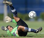 Irvine Valley College freshman goalkeeper Amanda Rashtian makes a save during the Santa Ana Dons' 1-0 victory over Irvine Valley College at Irvine Valley College in Irvine, Calif., on Friday, Sept. 23, 2011.  Photo by Michael Chen/SportsShooter Academy VIII.