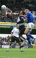 Photo: Jo Caird<br /> Fulham v Leicester<br /> Loftus Rd<br /> Barclaycard Premiership 2003<br /> 04/10/2003.<br /> <br /> Dean Leacock (Fulham) shot on goal defended by James Scowcroft