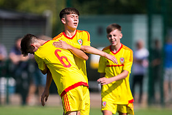 NEWPORT, WALES - Tuesday, July 24, 2018: Leighton Otterson celebrates scoring the second goal with Same Demery during the Welsh Football Trust Cymru Cup 2018 at Dragon Park. (Pic by Paul Greenwood/Propaganda)