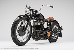 """Brandon Cooper's """"OH Black Betty"""" 1959 Harley-Davidson stroked Flathead custom with a Norton transmission. Photographed by Michael Lichter at the Easyriders Bike Show in Columbus, OH. February 8, 2018. ©2018 Michael Lichter"""