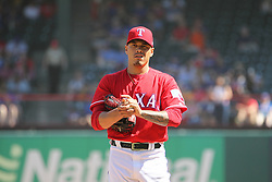 May 9, 2018 - Arlington, TX, U.S. - ARLINGTON, TX - MAY 09: Texas Rangers pitcher Keone Kela (50) handles the ball during the game between the Detroit Tigers and the Texas Rangers on May 9, 2018 at Globe Life Park in Arlington, TX. (Photo by George Walker/Icon Sportswire) (Credit Image: © George Walker/Icon SMI via ZUMA Press)