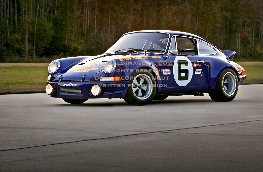 Image of a blue 1973 Sunoco RSR tribute car in Virginia, Porsche 911 RSR, property released