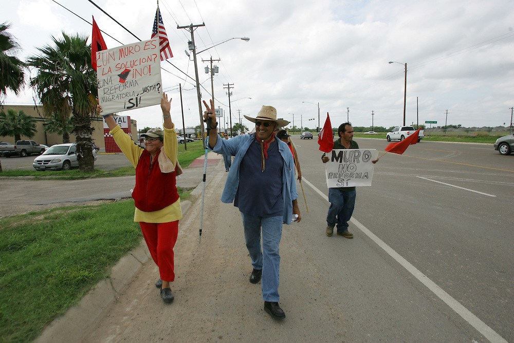 Jay Johnson Castro is joined by members of La Union del Pueblo Entero, an immigrant rights group, during his walk from Laredo to Brownsville to protest the proposed border wall.