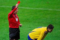 Matej Jug, referee with red card for Srebrenko Posavec of Koper during football match between NK Olimpija Ljubljana and NK Luka Koper of 29th Round of PrvaLiga, on April 7, 2012, in SRC Stozice, Ljubljana, Slovenia. Koper defeated Olimpija 1-0. (Photo by Vid Ponikvar / Sportida.com)