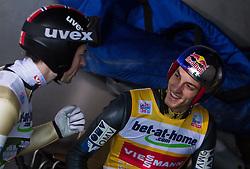 04.01.2013, Bergisel Schanze, Innsbruck, AUT, FIS Ski Sprung Weltcup, 61. Vierschanzentournee, Training, im Bild Anders Jacobsen (NOR) und Gregor Schlierenzauer (AUT) unterhalten sich // Anders Jacobsen of Norway and Gregor Schlierenzauer of Austria joking together during practice Jump of 61th Four Hills Tournament of FIS Ski Jumping World Cup at the Bergisel Schanze, Innsbruck, Austria on 2013/01/04. EXPA Pictures © 2012, PhotoCredit: EXPA/ Juergen Feichter