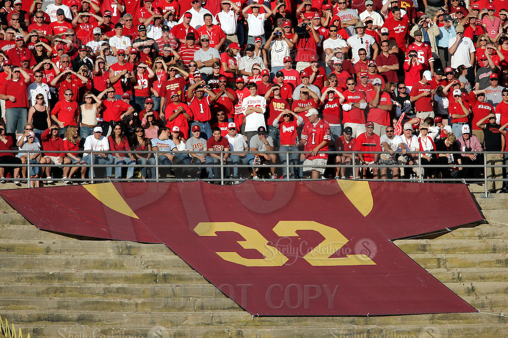 16 September 2006: Retired jersey #32 for former retired player OJ Simpson with fans in the background during USC Trojans college football game at the Los Angeles Memorial Coliseum in CA.