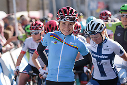 UCI WWT Youth Classification leader, Cecilie Uttrup Ludwig at the Women's Ronde van Vlaanderen 2017. A 153 km road race on April 2nd 2017, starting and finishing in Oudenaarde, Belgium. (Photo by Sean Robinson/Velofocus)