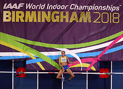 Sweden's Erika Kinsey in action during the Women's High Jump during day one of the 2018 IAAF Indoor World Championships at The Arena Birmingham, Birmingham. PRESS ASSOCIATION Photo. Picture date: Thursday March 1, 2018. See PA story ATHLETICS Indoor. Photo credit should read: Simon Cooper/PA Wire.