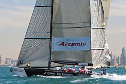 Artemis Racing (SWE) vs. Emirates Team New Zealand (NZL). Both teams win one match. Dubai, United Arab Emirates, November 19th 2010. Louis Vuitton Trophy  Dubai (12 - 27 November 2010)  Sander van der Borch / Artemis Racing