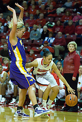 01 January 2011:  Alexis Jenkins is defended by Erin Brocka during an NCAA Women's basketball game between the Northern Iowa Panthers and the Illinois State Redbirds at Redbird Arena in Normal Illinois.