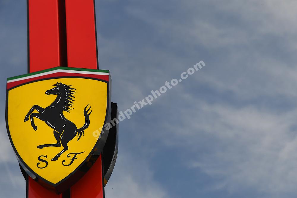 Ferrari logo / Prancing Horse and blue skies before the 2019 French Grand Prix at Paul Ricard. Photo: Grand Prix Photo