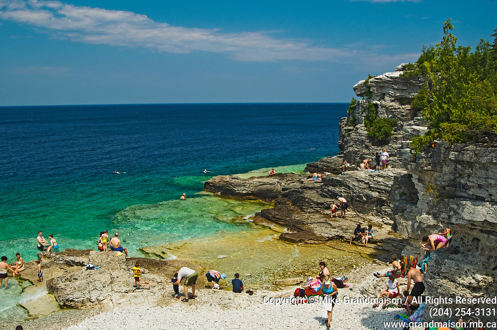 people swimming in Georgian Bay at Indian Head Cove<br />Bruce Peninsula National Park<br />Ontario<br />Canada