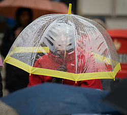 © London News Pictures. 01/01/2012. London, UK. A woman watches the parade from underneath an umbrella during heavy rain at the 2012 New Years Parade in London on January 1st, 2012. Photo credit : Ben Cawthra/LNP