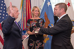 Defense Secretary Jim Mattis formally swears in Ryan D. McCarthy as the 33rd Under Secretary of the Army during a ceremony at the Pentagon in Washington, D.C., Sept. 5, 2017. The U.S. Senate confirmed McCarthy on Aug. 1, 2017. McCarthy proudly served in the Army from 1997 to 2002 and was involved in combat operations in Afghanistan in support of Operation Enduring Freedom with the 75th Ranger Regiment, U.S. Special Operations Command. (DOD photo by U.S. Army Sgt. Amber I. Smith)