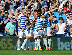 Queens Park Rangers' Leroy Fer celebrates with his team mates after scoring - Photo mandatory by-line: Dougie Allward/JMP - Mobile: 07966 386802 - 16/05/2015 - SPORT - football - London - Loftus Road - QPR v Newcastle United - Barclays Premier League