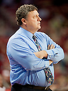Nov 16, 2011; Fayetteville, AR, USA; Oakland Grizzlie head coach Greg Kampe watches a game from the bench area during the second half of a game against the Arkansas Razorback at Bud Walton Arena.  Arkansas defeated Oakland 91-68. Mandatory Credit: Beth Hall-US PRESSWIRE