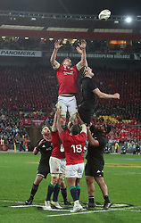 British and Irish Lions Sam Warburton contests a line out with New Zealand's Brodie Retalick during the second test of the 2017 British and Irish Lions tour at Westpac Stadium, Wellington.