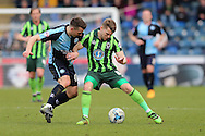 Matthew Bloomfield of Wycombe Wanderers intercepts Jake Reeves of AFC Wimbledon. Skybet football league two match, Wycombe Wanderers  v AFC Wimbledon at Adams Park  in High Wycombe, Buckinghamshire on Saturday 2nd April 2016.<br /> pic by John Patrick Fletcher, Andrew Orchard sports photography.