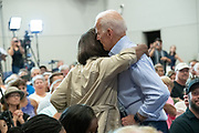 Former Vice President Joe Biden embraces Felicia Sanders, the survivor of the AME church shooting, during a town hall meeting at the International Longshoreman's Association Hall July 7, 2019 in Charleston, South Carolina.  Nine African-American church worshippers were murdered by a white supremacist at the Emanuel AME Church shooting in 2015.