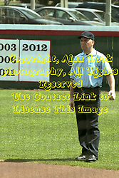 09 May 2014: Umpire Terry Holt  during an NCAA Missouri Valley Conference (MVC) Championship series women's softball game between the Loyola Ramblers and the Illinois State Redbirds on Marian Kneer Field in Normal IL