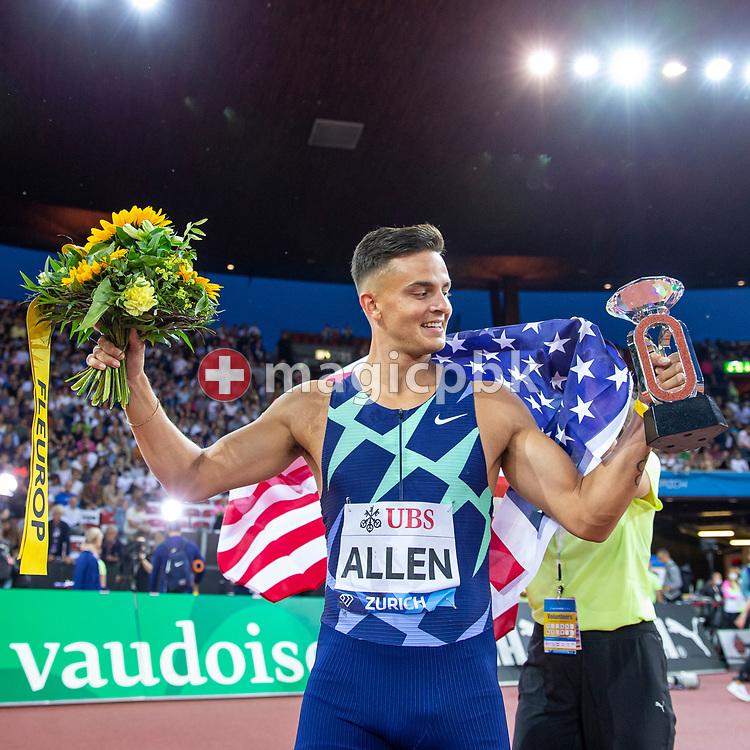 Devon Allen of the United States reacts after winning in the men's 110m Hurdles during the Iaaf Diamond League meeting (Weltklasse Zuerich) at the Letzigrund Stadium in Zurich, Switzerland, Thursday, Sept. 9, 2021. (Photo by Patrick B. Kraemer / MAGICPBK)