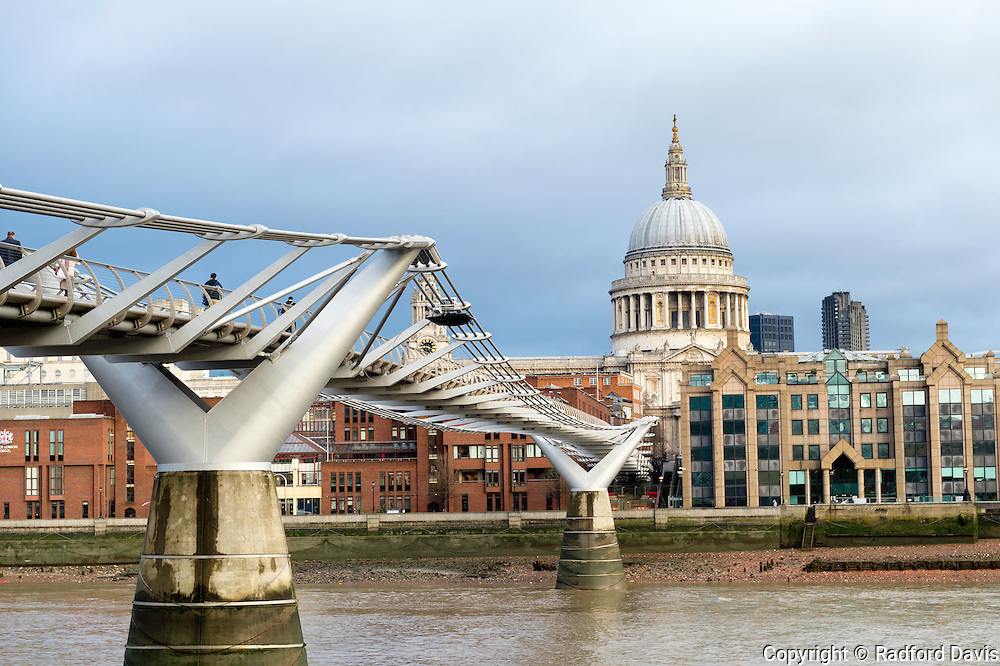 St. Paul's Cathedral and the Millennium Bridge, London, England