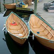 Rowing dories in Gloucester Harbor, Massachusetts