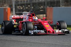 February 27, 2017 - Barcelona, Spain - The Ferrari of Sebastian Vettel during the Formula 1 tests held in the Barcelona-Catalunya Circuit, on february 27, 2017. Photo: Jordi Galbany/Urbanandsport/Nurphoto  (Credit Image: © Jordi Galbany/NurPhoto via ZUMA Press)
