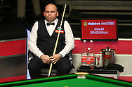Stuart Bingham (Eng) looks on.  Stuart Bingham (Eng) v Joe Perry (Eng), 1st round match at the Dafabet Masters Snooker 2017, day 2 at Alexandra Palace in London on Monday 16th January 2017.<br /> pic by John Patrick Fletcher, Andrew Orchard sports photography.