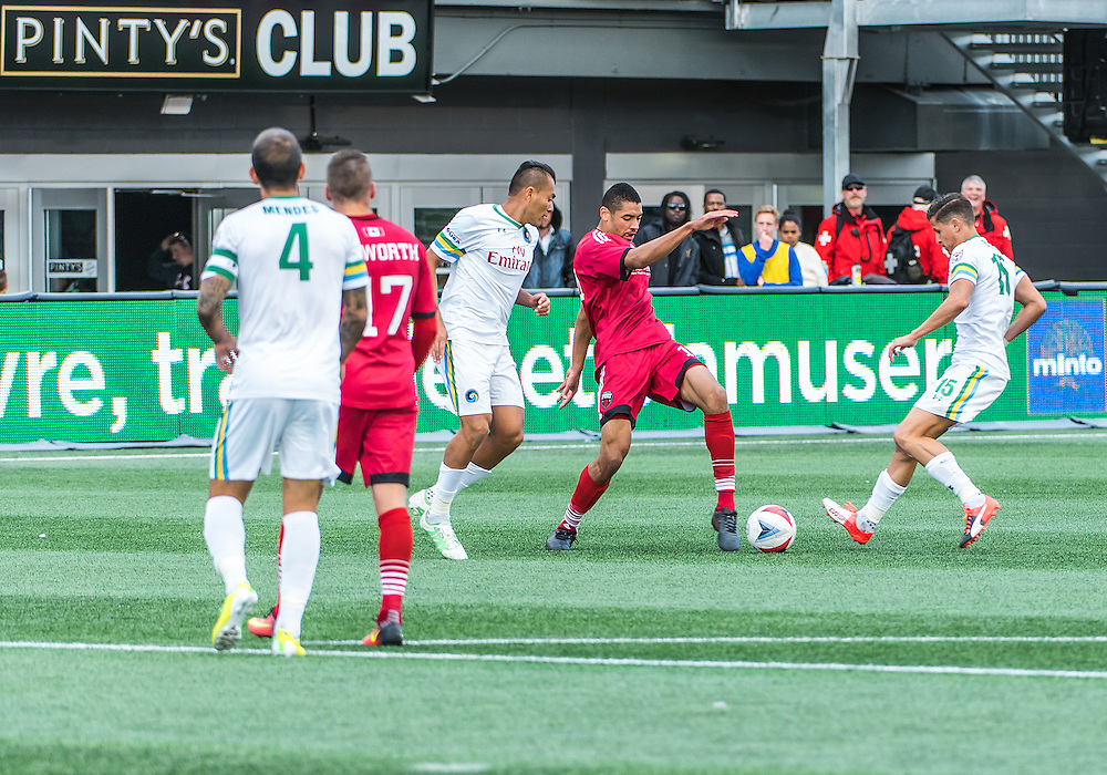 Ottawa Fury FC defender Onua Obasi (#14) during the NASL match between the Ottawa Fury FC and New York Cosmos FC at TD Place Stadium in Ottawa, ON. Canada on Oct. 9, 2016.<br /> <br /> PHOTO: Steve Kingsman/Freestyle Photography