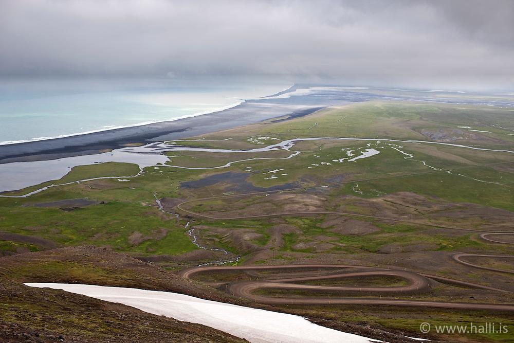 Overview to Heradsfloi, Iceland - Horft til Héraðsflóa frá Hellisheiði Eystri