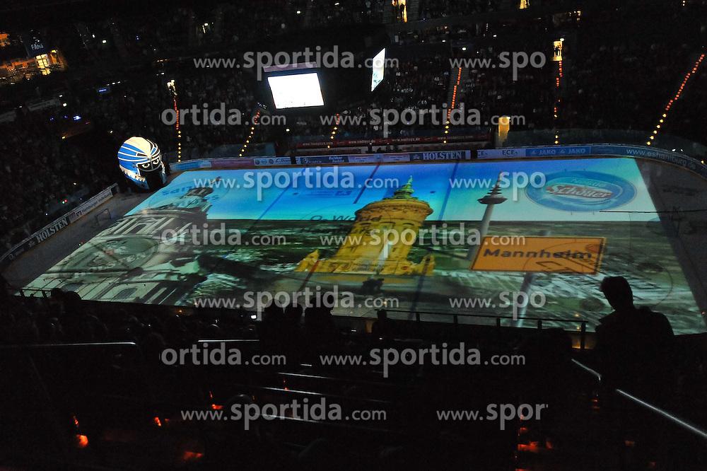 07.10.2011,  O2 World, Hamburg, GER, DEL, Hamburg Freezers vs Eisbaeren Berlin, im Bild Feature Projektion der Gegnerstaedte auf das Eis hier Mannheim. // during match at O2 World 2011/10/07, Hamburg  EXPA Pictures © 2011, PhotoCredit: EXPA/ nph/  Witke       ****** out of GER / CRO  / BEL ******