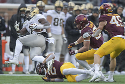 November 10, 2018 - Minneapolis, MN, USA - United States - Minnesota's defensive back Jacob Huff stopped Purdue's running back D.J. Knox during the second quarter as Minnesota took on Purdue at TCF Bank Stadium, Saturday, November 10, 2018 in Minneapolis, MN.    ]  ELIZABETH FLORES • liz.flores@startribune.com (Credit Image: © Elizabeth Flores/Minneapolis Star Tribune via ZUMA Wire)