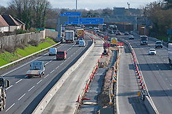 ©Licensed to London News Pictures 05/02/2020<br /> Maidstone, UK. Smart motorway construction work on the M20 between junctions 3 and 5. The UK government has stopped all Smart motorway development schemes while it awaits the results of a review into their safety. This means a £92 million stretch of the M20 in Kent will not open as a smart motorway until the review has been completed. The new 6.5 mile section between junctions three and five near Maidstone was due to open next month but now may never open as a smart motorway. Photo credit: Grant Falvey/LNP
