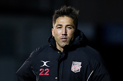 Dragons' Gavin Henson<br /> <br /> Photographer Simon King/Replay Images<br /> <br /> Guinness PRO14 Round 14 - Dragons v Glasgow Warriors - Friday 9th February 2018 - Rodney Parade - Newport<br /> <br /> World Copyright © Replay Images . All rights reserved. info@replayimages.co.uk - http://replayimages.co.uk