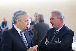 Belgian Foreign Minister Didier Reynders (L) speaks with Luxembourg's Foreign Minister Jean Asselborn before the Geneva Conference on Preventing Violent Extremism in Geneva, Switzerland, April 8, 2016. United Nations Secretary-Genera Ban Ki-moon said Friday that a paradigm shift is needed to address violent extremism affecting communities across the globe. EXPA Pictures © 2016, PhotoCredit: EXPA/ Photoshot/ Xu Jinquan<br /> <br /> *****ATTENTION - for AUT, SLO, CRO, SRB, BIH, MAZ, SUI only*****