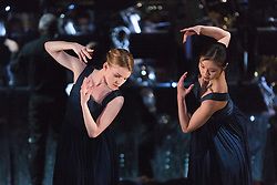 "© Licensed to London News Pictures. 12/05/2015. London, England. Hannah Rudd and Vanessa Kang performing. Rambert Dance Company perform the World Premiere of ""Dark Arteries"" by Mark Baldwin as part of a triple bill at Sadler's Wells Theatre. Rambert perform with the Tredegar Town Band and the Rambert Orchestra from 12 to 16 May 2015. Photo credit: Bettina Strenske/LNP"