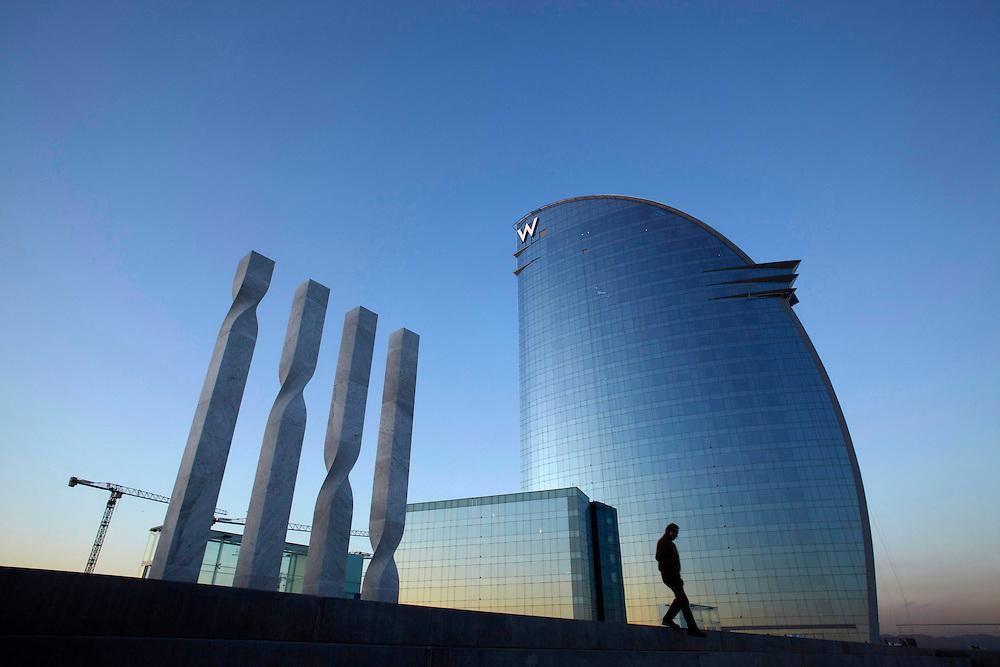 "Feb, 02. 2010. City of Barcelona. New hotel ""W Barcelona"" from the Starwood Hotels company. Located in the beach of ""La Barceloneta""."