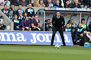 Paul Clement, the Swansea city manager shouts his instructions from the touchline. Premier league match, Swansea city v Middlesbrough at the Liberty Stadium in Swansea, South Wales on Sunday 2nd April 2017.<br /> pic by Andrew Orchard, Andrew Orchard sports photography.